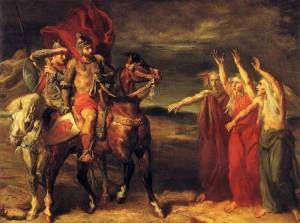 Macbeth, Banquo y las brujas por Théodore Chassériau